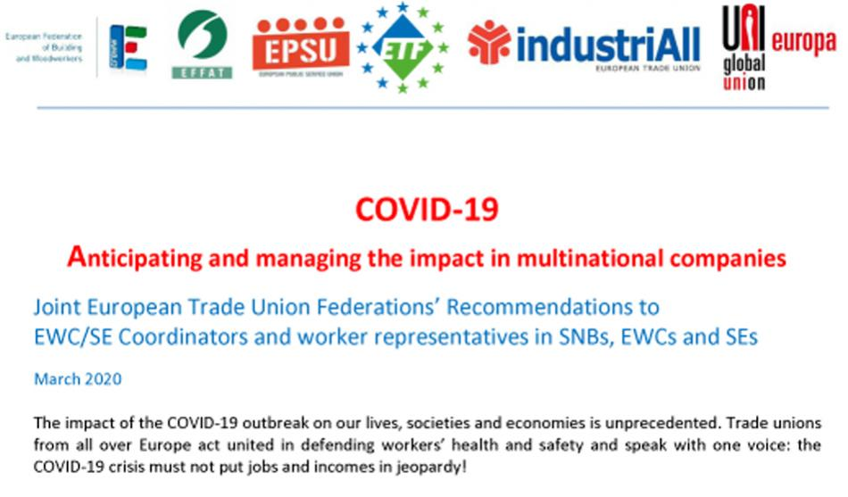 ETUFs logo joint recommendations EWC SE on COVID-19