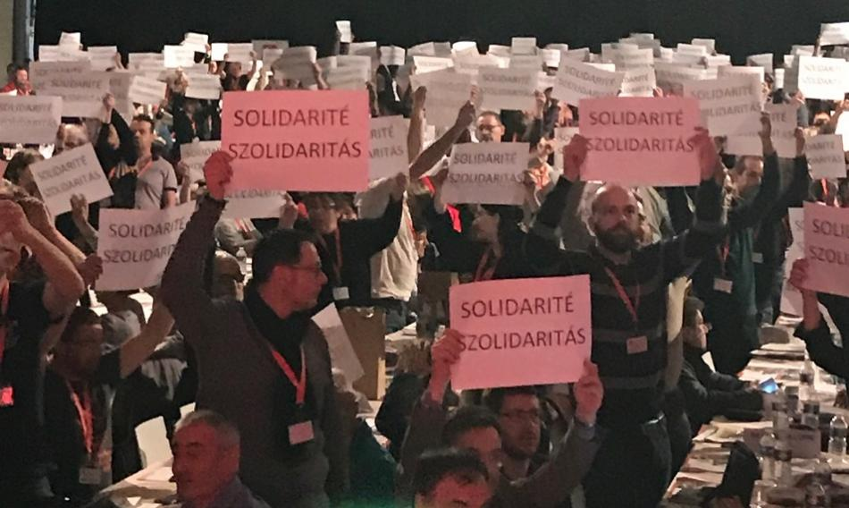 Force Ouvrière Services Publics Santé congress in Rouen January 2019 - solidarity with Hungary