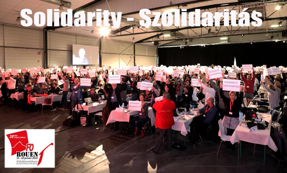 French unions FO Services publics et santé at Congress in Rouen solidarity with Hungary, January 2019
