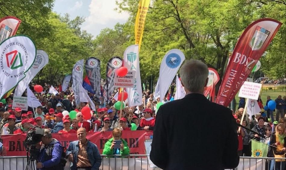 Jan Willem Goudriaan, EPSU General Secretary, speaking on 1st May 2019 demonstration, Budapest