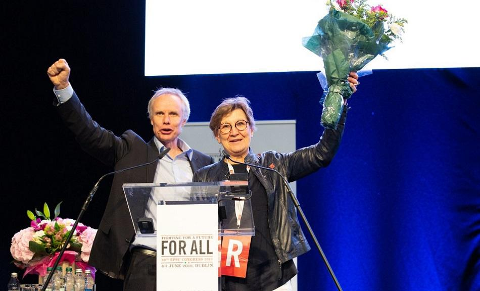 Mette Nord, new President of EPSU and Jan Willem Goudriaan, General Secretary re-elected, EPSU Congress Dublin June 2019