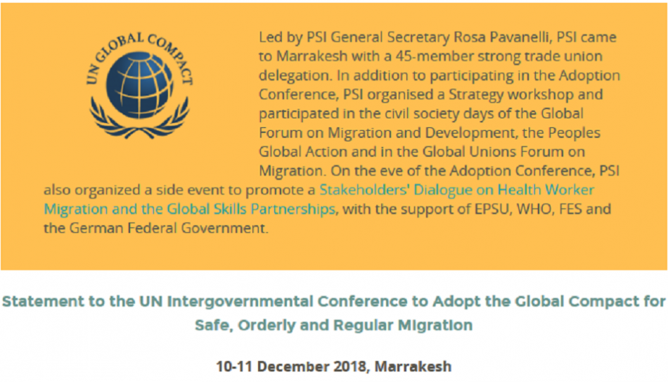 PSI welcomes UN Global Compact on Migration adoption - screenshot