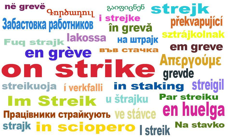 on strike EPSU logo all languages