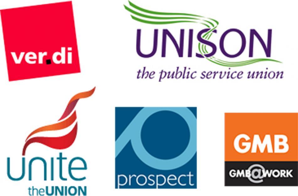 Logos EPSU affiliates UNISON Ver.di Unite Prospect GMB