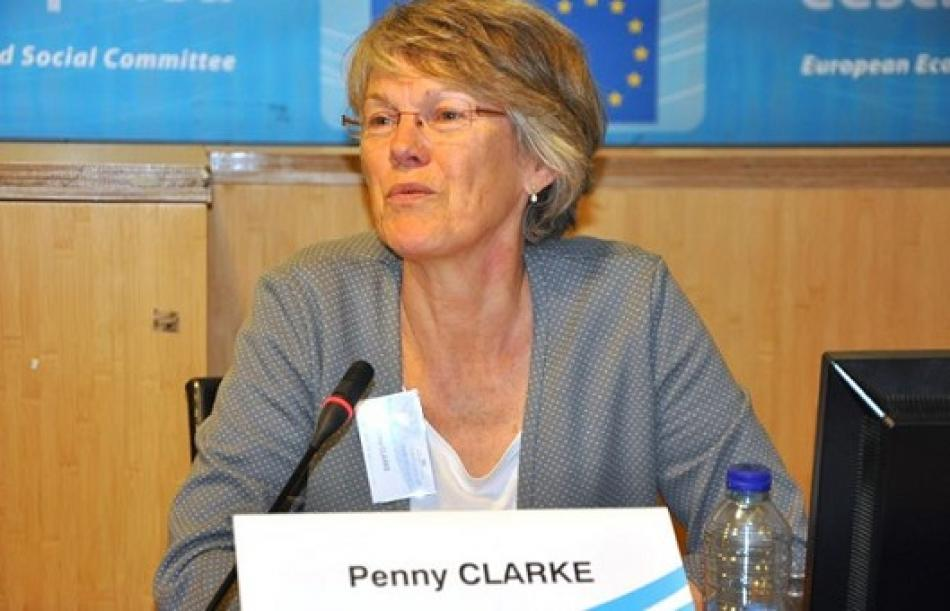 Penny Clarke, EPSU Deputy General Secretary, at EESC hearing on the rights of live-in carers, April 2016