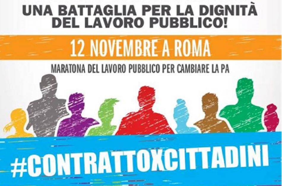 Poster for the marathon for public services on 12 November 2016 in Rome