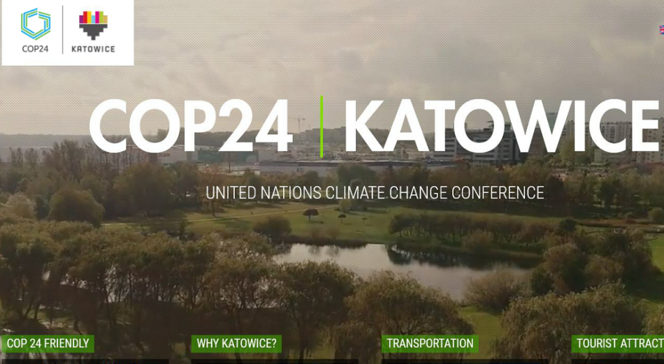 COP 24 Katowice December 2018 print screen home page