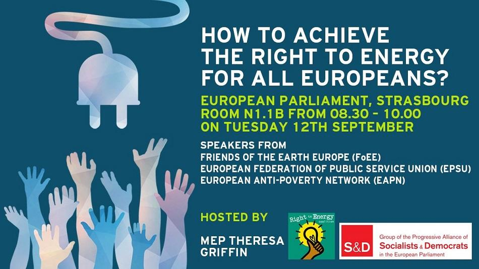 Right to Energy breakfast meeting 12 September 2017 European Parliament S&D