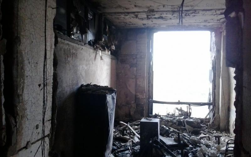 Ukraine - burnt trade union house in 2014