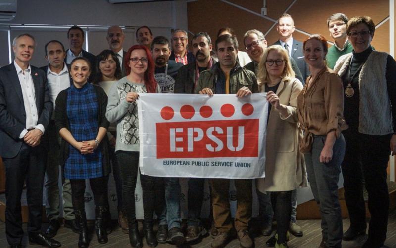 KESK-SES members and EPSU delegation in Ankara January 2019