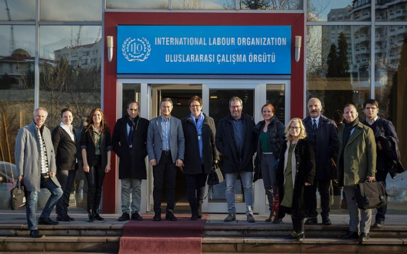 EPSU delegation in front of ILO offices, Ankara January 2019