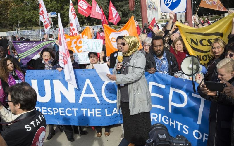 Demonstration to support UN workers' rights - 1st November 2017, Geneva, PSI Congress