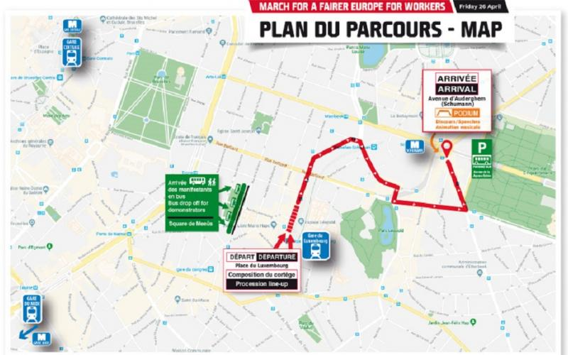 Euro-Demo 26 April 2019, Brussels - map route march
