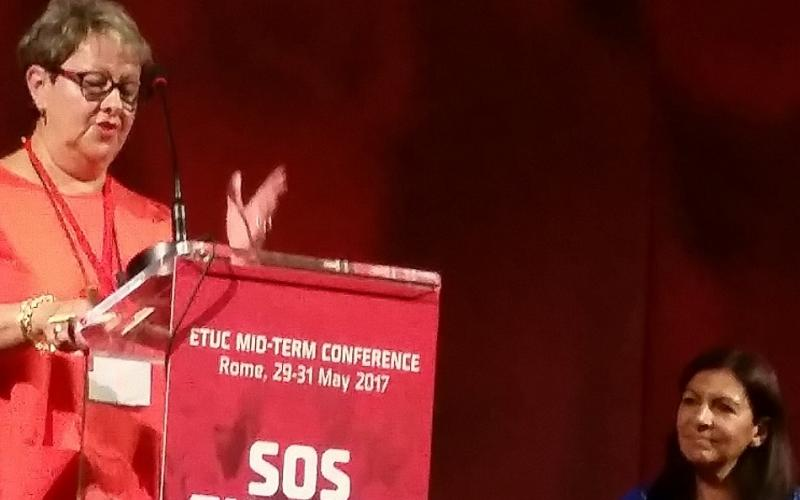 EPSU VicePresident Françoise Geng speaking at ETUC Mid-Term Conference with Anne Hidalgo, Roma, 31 May 2017
