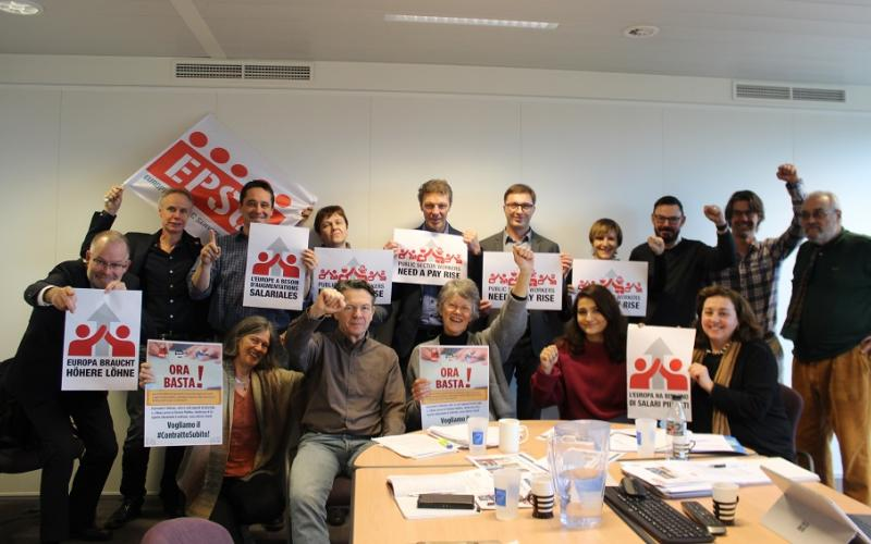 EPSU Congress Resolution Committee members support action in Italy