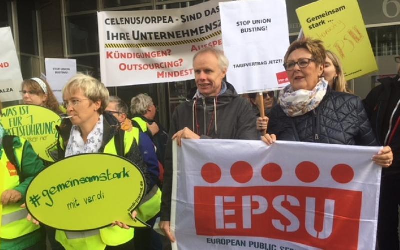 EPSU President, Isolde Kunkel-Weber (ver.di, Germany) and EPSU General Secretary, Jan Willem Goudriaan in Berlin on 28 September