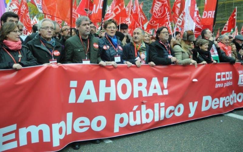 Pepe Fernandez (CCOO-FSC), Unai Sordo (General Secretary CC.OO), I. Kunkel-Weber (EPSU President), Pepe Álvarez (GS UGT) and Julio Lacuerda (UGT-FSP) in Madrid, 14 December 2017