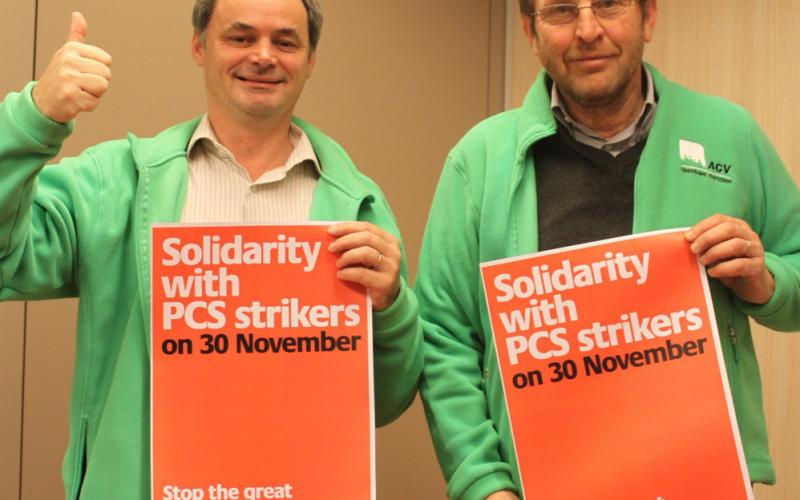 Left = Luc Hamelinck – President of Belgian EPSU affiliate ACV-Openbare Diensten / CSC- Services Publics Right = Jean-Paul Devos – same union - President of the EPSU Standing Committee on National and European Administration