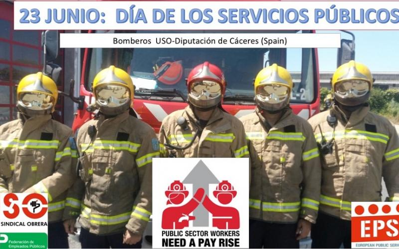 FEP-USO firefighters showing support for PS Day 23 June 2017, Spain
