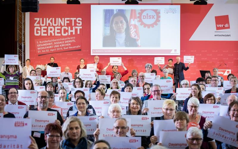 Verdi support Turkish confederation DISK President Arzu Çerkezoğlu with Sylvia Buhler and Jan Willem Goudriaan