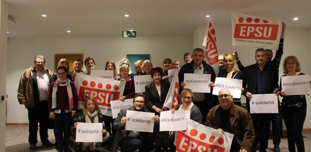 Members of EPSU Standing Committee on Health and Social Services support Danish unions