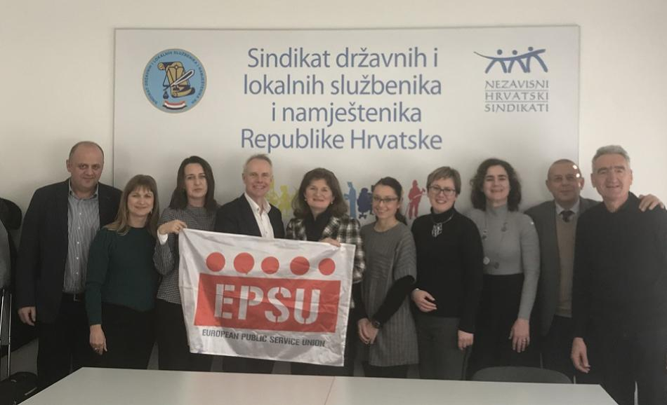 EPSU Croatian public service unions supporting the Ukrainian trade union protests against labour law reform