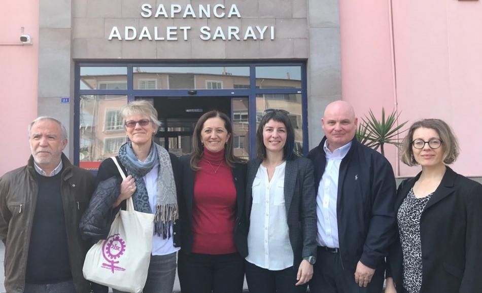 EPSU Deputy General Secretary P.Clarke in Istanbul - trial Turkish confederation DISK President Arzu Çerkezoğlu, April 2019