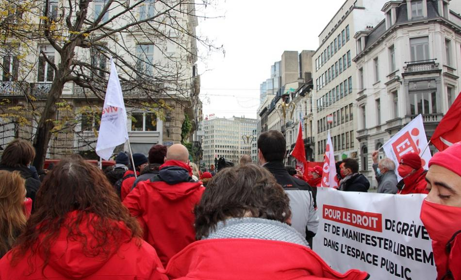 10 December 2020 FGTB protest in Brussels union rights