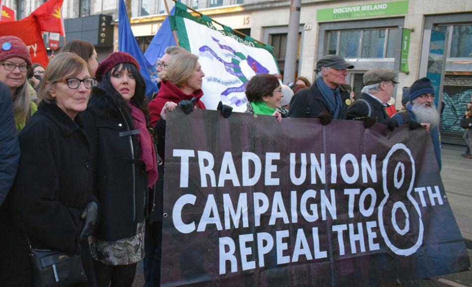 Demonstration in Dublin votes for repeal 8th amendment International Womens day 2018