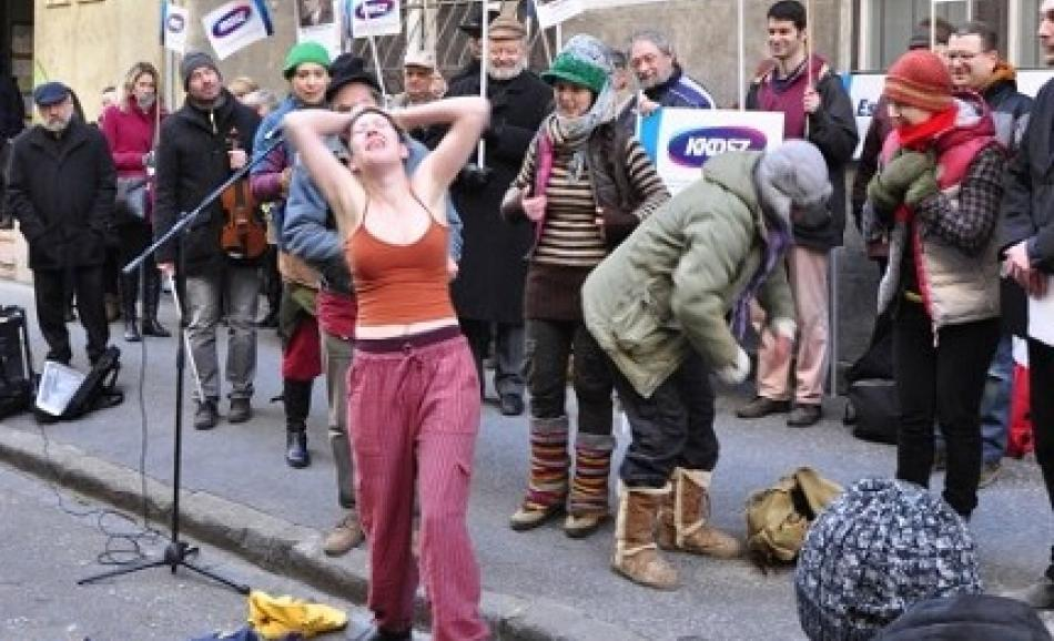 """""""You can not strip us down further """", Culture Workers action, 20 January 2016, Budapest"""