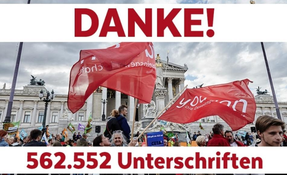 562552 signatures in Austria against CETA
