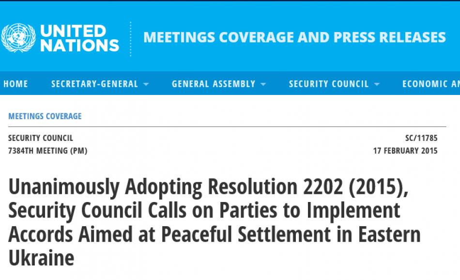UN website resolution 2202 peaceful settlements conflict Ukraine