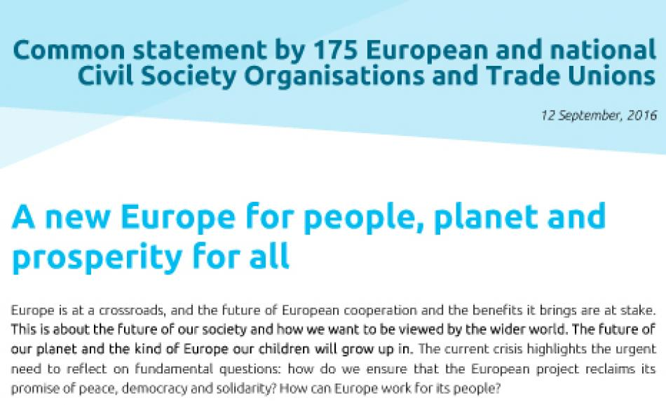 Common statement - a new Europe for people, planet and prosperity for all