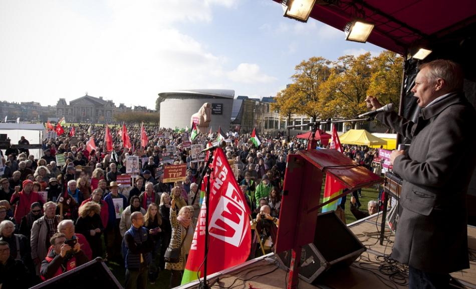 EPSU General Secretary speaking at fair trade demonstration in Amsterdam on 22 October 2016