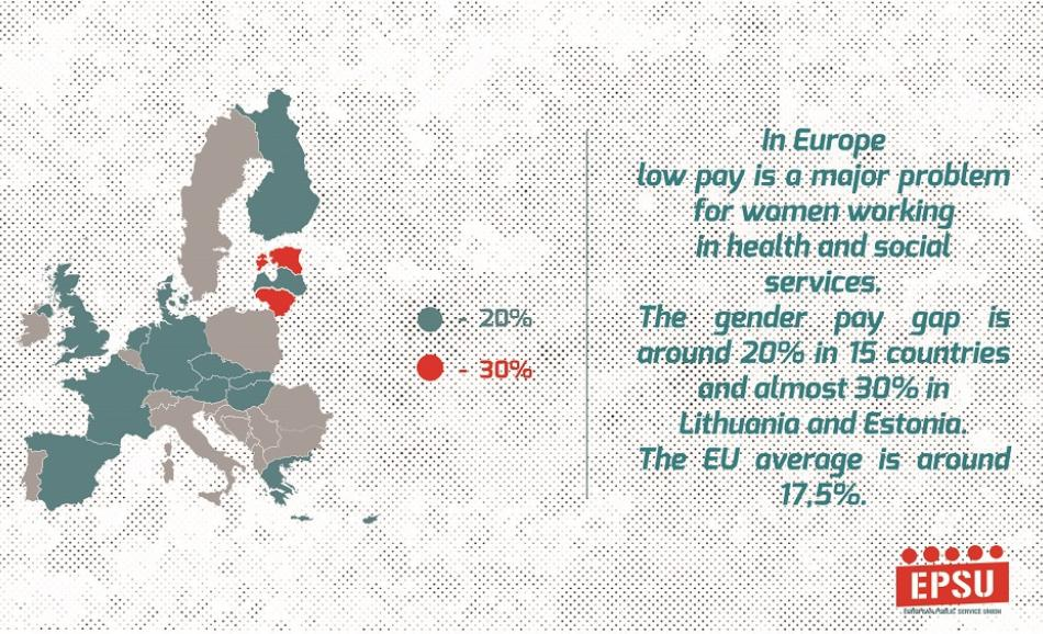 Gender pay gap in Europe - snapshot from EPSU video IWD 2017