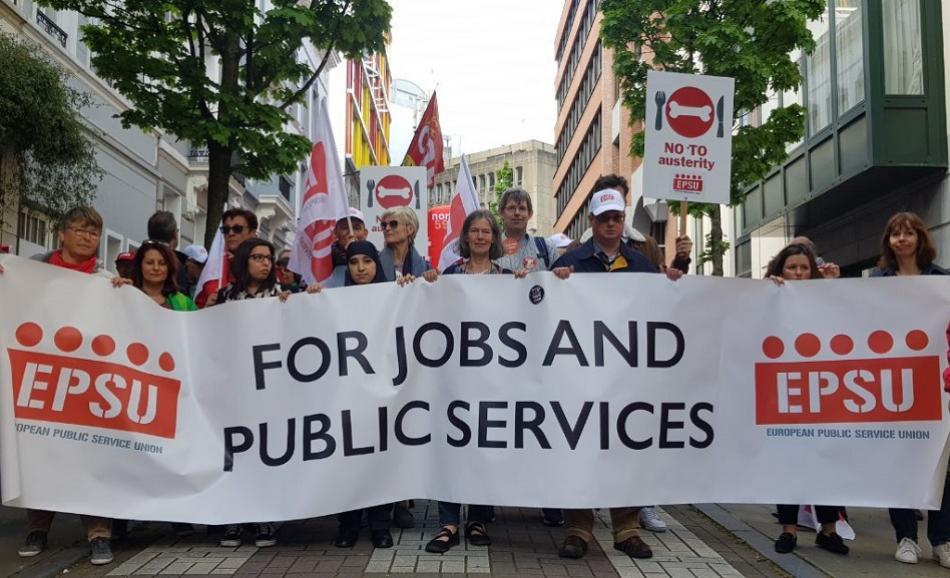 EPSU in ETUC Euro-Demo on 26 April 2019, Brussels