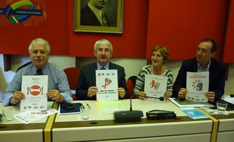the General Secretaries of Italian public sector unions Giovanni Torluccio (UIL FPL), Giovanni Faverin (CISL FP), Rossana Dettori (FP CGIL) and Benedetto Attili (UILPA) supported the 'No to Austerity, for alternatives' campaign