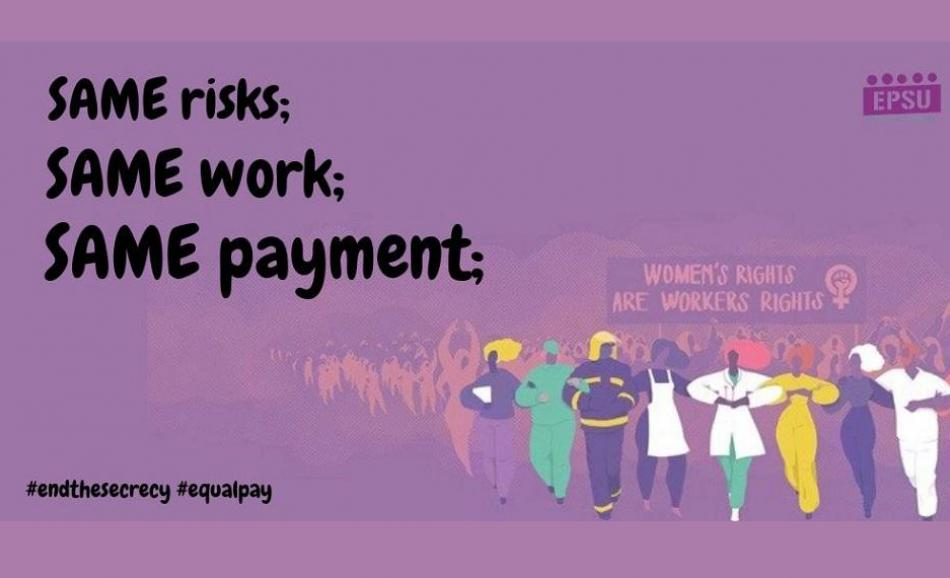 Gender equality same risks same work same pay EPSU logo