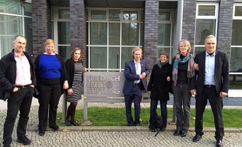 Some participants of the seminar (from left to right): Jorg Bergstermann FES, Christina Colclough Uni-europa, Sandra Breiteneder, GPA, Julien Laflamme, NSC Canada, Alice Minette CGSP Belgium Penny Clarke EPSU, Dierk Hirschel ver.di