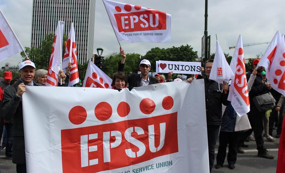 EPSU team at Belgian national demonstration on 24 May 2016