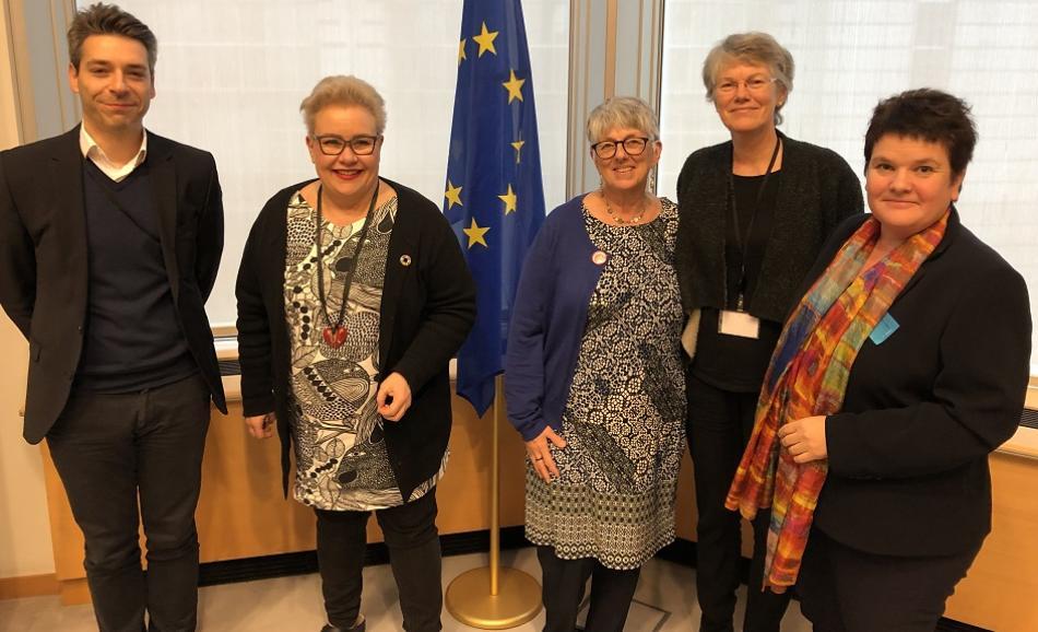 Stercy Yghemonos and Sarii Tervonen Eurocarers, Sirpa Pietikainen MEP, Penny Clarke EPSU and Julie Ward, MEP