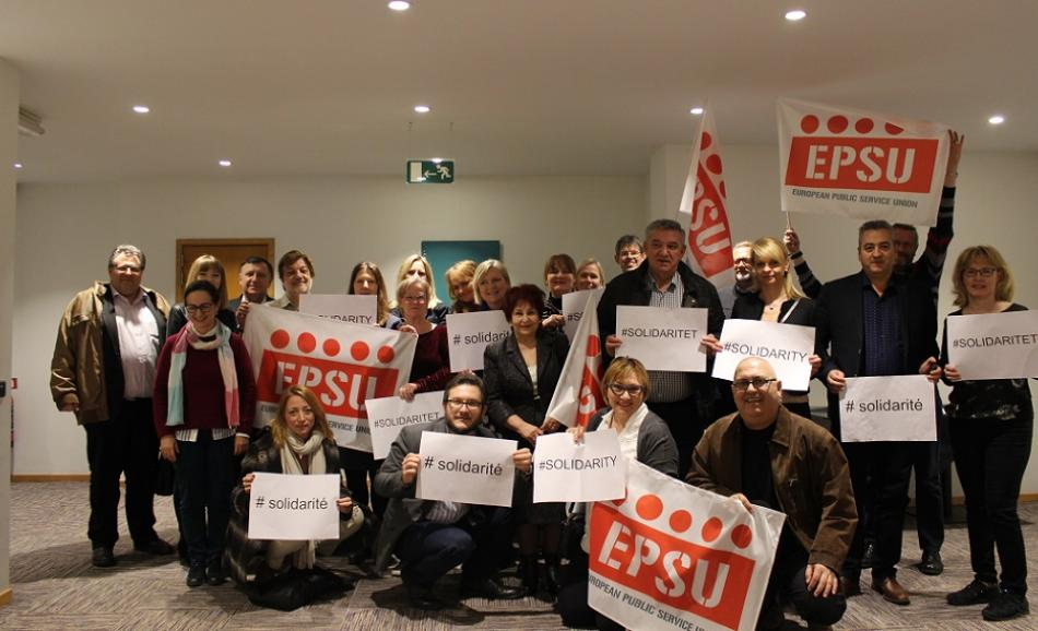 Members of EPSU Standing Committee on Health and Social Services support Danish unions 14 March 2018