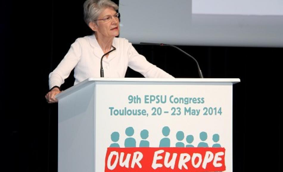 Bernadette Segol ETUC General Secretary speaking at EPSU Congress on 20 May 2014