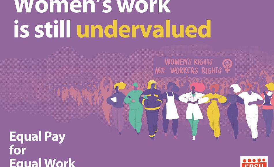 EPSU logo Women's work is still undervalued - IWD 2019 - EPSU statement