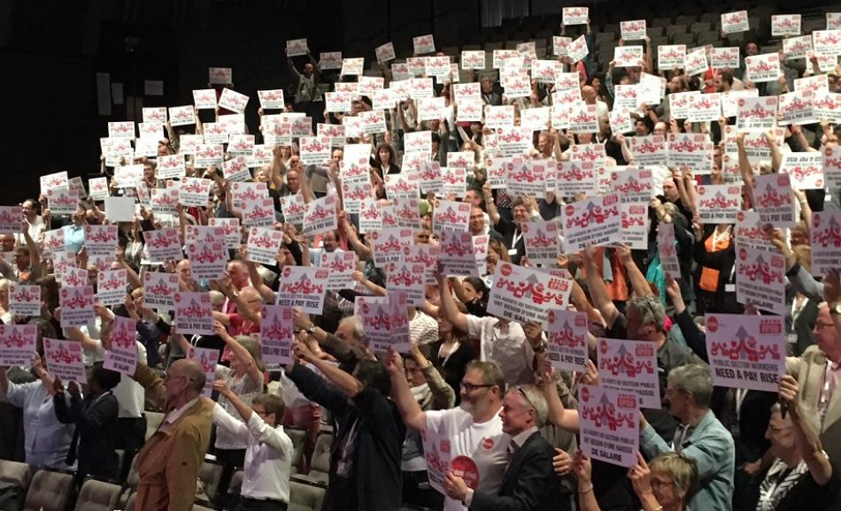 Interco CFDT Congress delegates showing support for Public Services Day Pay Rise Campaign 28 June 2017, Brest