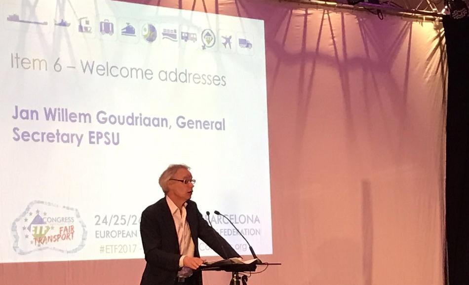 EPSU General Secretary Jan Willem Goudriaan speaking at ETF Congress 24 May 2017, Barcelona