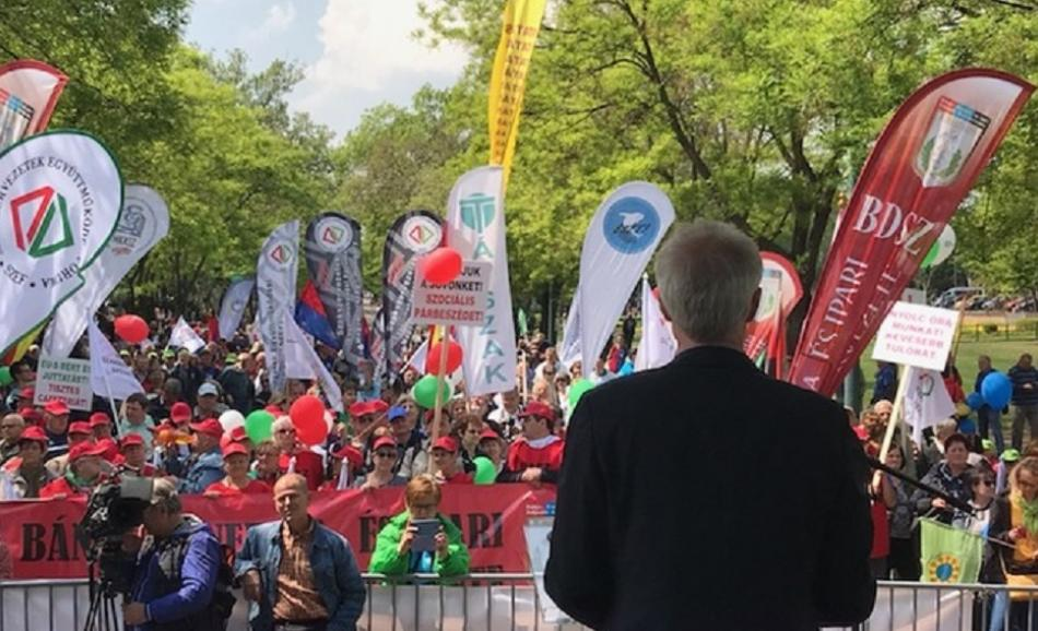 Jan Willem Goudriaan, EPSU General Secretary, speaking on 1st May 2019 demonstration, Budapest