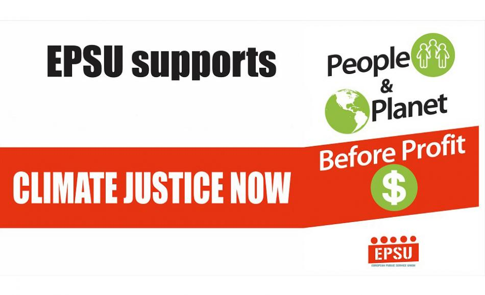 Climate justice now EPSU logo
