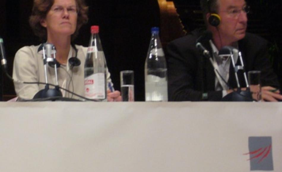 Anders Hammarback and Penny Clarke listen to Local Government congress debate