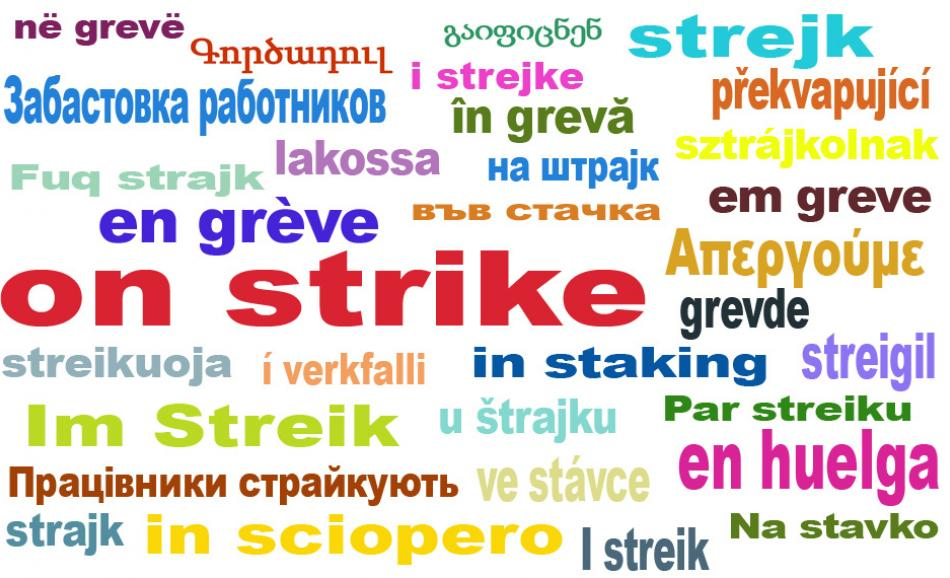 on strike EPSU logo all languages